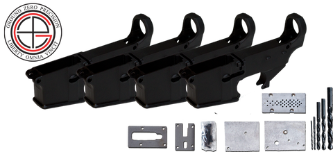 7075-T6 Hard Coat Anodized Mil-Spec 80% AR15 Lower Receiver 4 PACK with Milling Jig