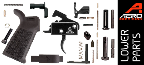 Aero Precision Enhanced AR15 Lower Parts Kit with Rise Armament Black Fallout RA-140 (SST) Trigger