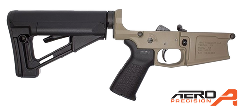 Aero Precision M5 (.308) Enhanced Complete Lower Receiver w/ Magpul MOE & STR - FDE Cerakote