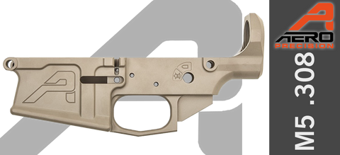 Aero Precision M5 Stripped AR .308 Lower Receiver - Gen 2 - FDE Cerakote