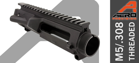 Aero Precision M5 Threaded Stripped .308 Upper Receiver - Black