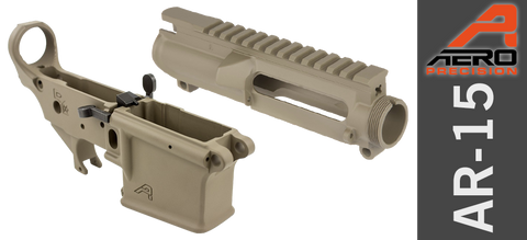 Aero Precision Stripped Gen II Ambi AR-15 Receiver Set with PDQ Ambi Bolt Release - Magpul FDE