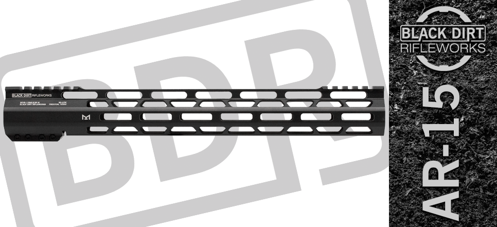 "Black Dirt Rifleworks 15"" M-Lok Ultra Light AR 15 Free Float Handguard"