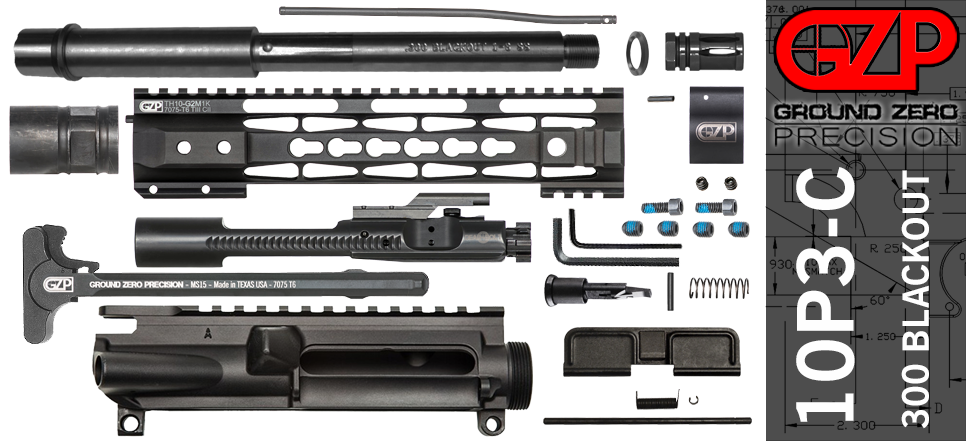 "10.5"" 300 Blackout Free Float AR-15 Upper Receiver Kit"