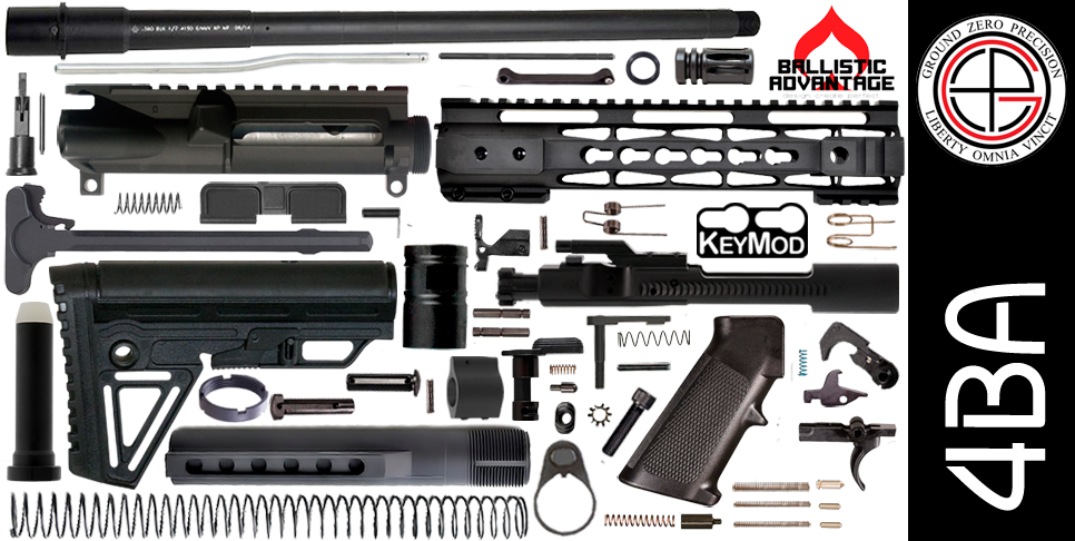 "DIY 16"" Ballistic Advantage 300 Blackout AR15 Project Kit KEYMOD Free-Float Handguard"