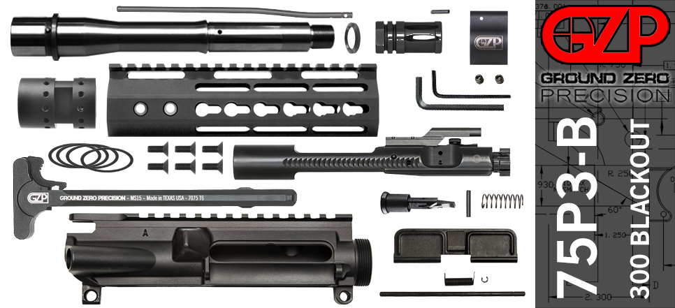 "7.5"" 300 Blackout AR-15 Upper Receiver Kit Slim"