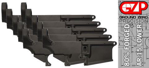 Forged 80% AR-15 Lower Receiver - Anodized - 10 PACK