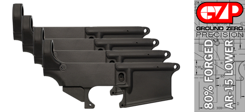 Forged 80% AR-15 Lower Receiver - Anodized - 4 PACK