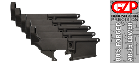 Forged 80% AR-15 Lower Receiver - Anodized - 5 PACK
