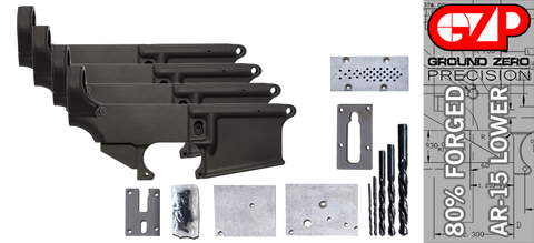 Forged 80% AR-15 Lower Receiver & Milling Jig - Anodized - 4 Pack