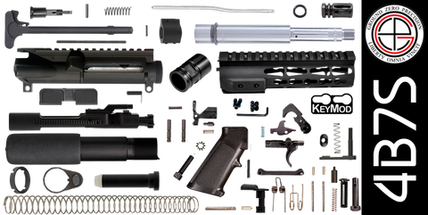 "DIY 7.5"" Stainless 300 Blackout AR-15 Pistol Project Kit with TAC-HUNTER KEYMOD Free-Float Handguard (4B7S)"