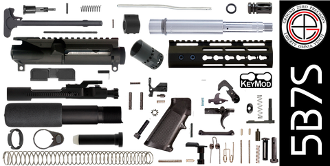 "DIY 7.5"" Stainless 300 Blackout AR-15 Pistol Project Kit with Super-Slim KEYMOD Free-Float Handguard (5B7S)"