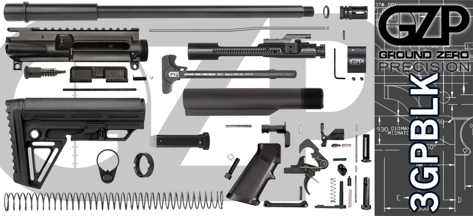 "DIY 16"" 300 Blackout AR 15 Build Project Kit 3GPBLK"