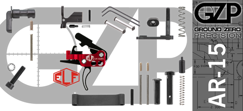 AR-15 Lower Receiver Parts Kit with Elftmann Match Curved Drop-In Trigger (GZMS15LPK-ELFMAC-1)