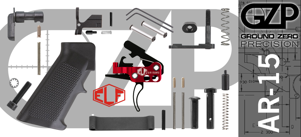 AR 15 Lower Parts Kit with Curved Elftmann Match Adjustable Drop-In Trigger