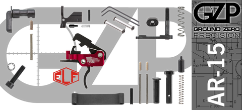 AR-15 Lower Receiver Parts Kit with Elftmann SE Curved Drop-In Trigger (GZMS15LPK-ELFSEC-1)