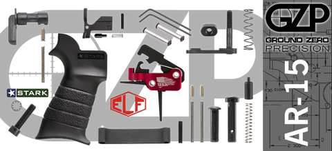 AR-15 Lower Receiver Parts Kit with Elftmann SE Flat Drop-In Trigger (GZMS15LPK-ELFSEF-3)
