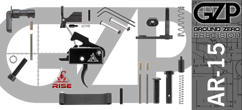 AR-15 Lower Receiver Parts Kit with RISE Armament RA-140 Drop-In Trigger (GZMS15LPK-RA140-1)