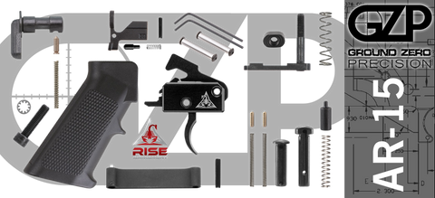 AR-15 Lower Receiver Parts Kit with RISE Armament RA-140 Drop-In Trigger (GZMS15LPK-RA140-2)