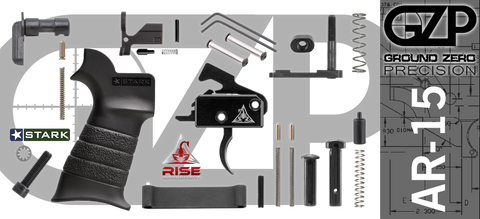 AR-15 Lower Receiver Parts Kit with RISE Armament RA-140 Drop-In Trigger (GZMS15LPK-RA140-3)