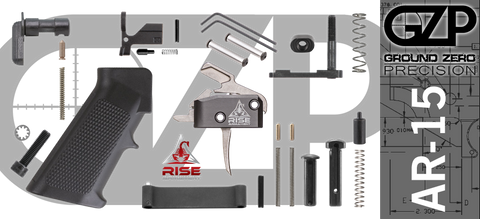 AR-15 Lower Receiver Parts Kit with RISE Armament RA-434 Drop-In Trigger (GZMS15LPK-RA434-2)