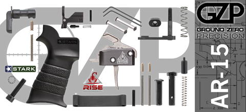 AR-15 Lower Receiver Parts Kit with RISE Armament RA-434 Drop-In Trigger (GZMS15LPK-RA434-3)