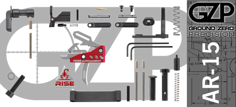 AR-15 Lower Receiver Parts Kit with RISE Armament RA-535 Drop-In Trigger (GZMS15LPK-RA535-1)
