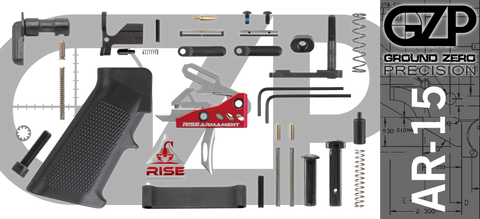 AR-15 Lower Receiver Parts Kit with RISE Armament RA-535 Drop-In Trigger (GZMS15LPK-RA535-2)