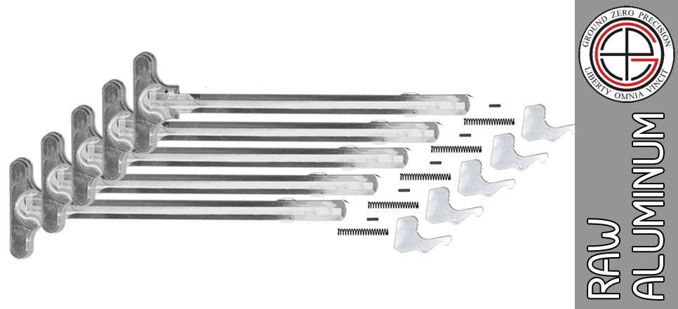 "Bare Aluminum Mil-Spec AR15 Charging Handle Kit - ""In The White"" (5 PACK)"