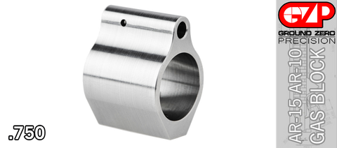 Low Profile Stainless Steel AR Gas Block - .750