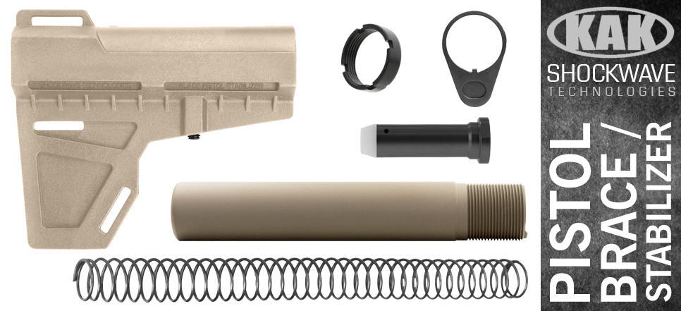 KAK Shockwave Blade AR-10 .308 Pistol Stabilizer KIT - FDE / BLACK