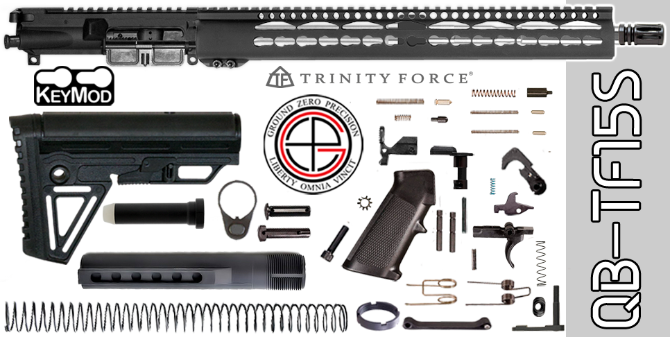 "Quick Build Stainless .223 / 5.56 AR15 Kit with Complete 15"" KEYMOD Free-Floated Upper Receiver (QB-TF15S) - FREE SHIPPING"