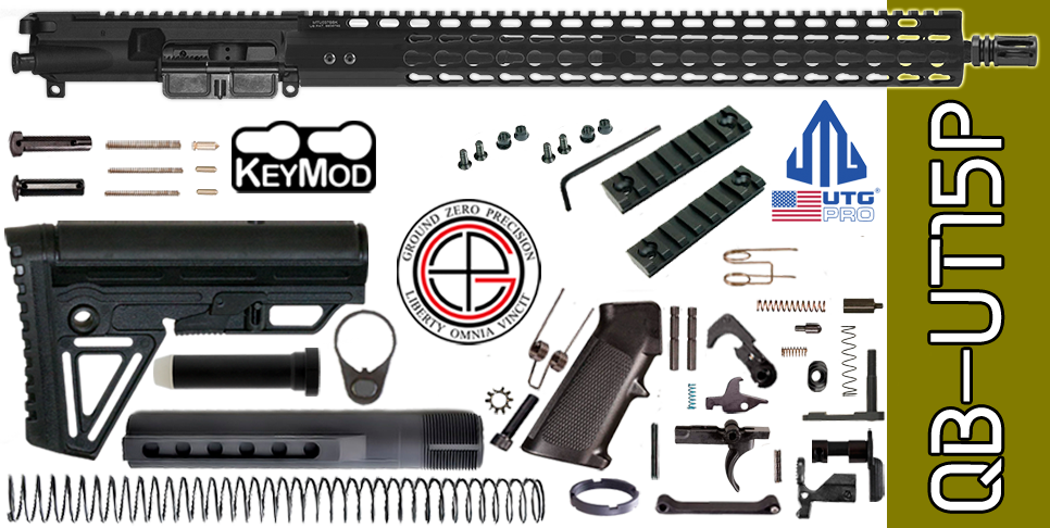 "Quick Build .223 / 5.56 AR15 Kit with Complete 15"" UTG-PRO KEYMOD Free-Floated Upper Receiver (QB-UT15P) - FREE SHIPPING"