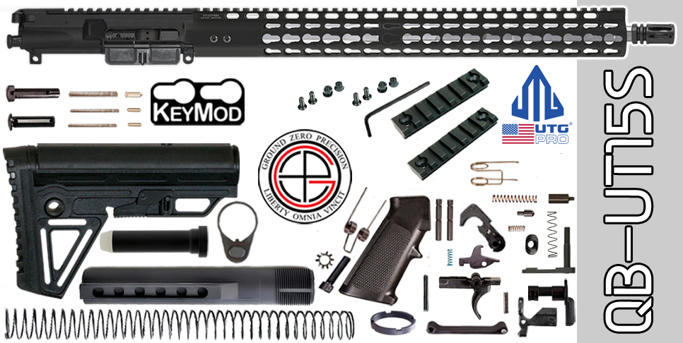 "Quick Build Stainless .223 / 5.56 AR15 Kit with Complete 15"" UTG-PRO KEYMOD Free-Floated Upper Receiver (QB-UT15S) - FREE SHIPPING"