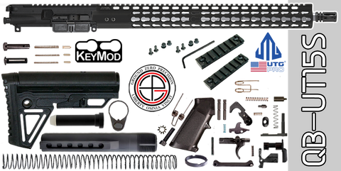 "Quick Build Stainless .223 / 5.56 AR-15 Kit with Complete 15"" UTG-PRO KEYMOD Free-Floated Upper Receiver (QB-UT15S) - FREE SHIPPING"