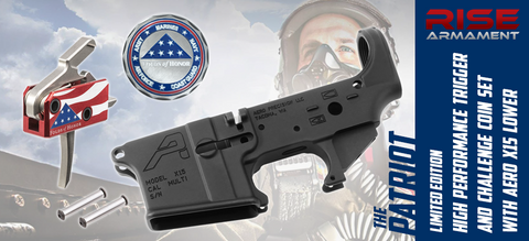 "LIMITED EDITION - RISE Armament ""Patriot"" Drop-In AR Trigger, Challenge Coin Set & Aero X15 Stripped Lower - Benefiting Folds of Honor Foundation"