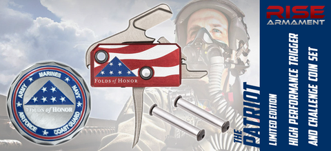 "LIMITED EDITION - RISE Armament ""Patriot"" Drop-In AR Trigger & Challenge Coin Set - Benefiting Folds of Honor Foundation"