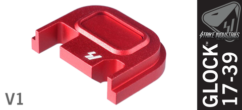 Strike Industries Push Button Slide Cover Plate for Glock - V1 - Red