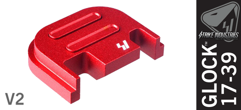 Strike Industries Push Button Slide Cover Plate for Glock - V2 - Red