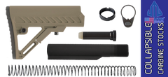 UTG PRO Model 4 S2 Mil-spec Adjustable AR Carbine Stock Kit - FDE on BLACK