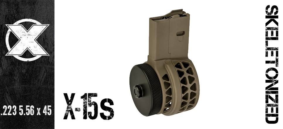 XProducts X-15 SKELETONIZED AR15 Drum Magazine - 50 Round - FDE
