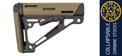 Hogue Overmolded® Collapsible AR Carbine Buttstock - Black/Desert Tan