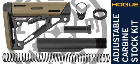 Hogue Overmolded® Collapsible Carbine AR-15 Stock Kit - Desert Tan / Black