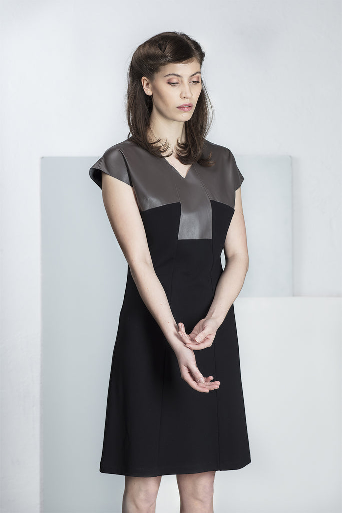 Tori dress with genuine leather