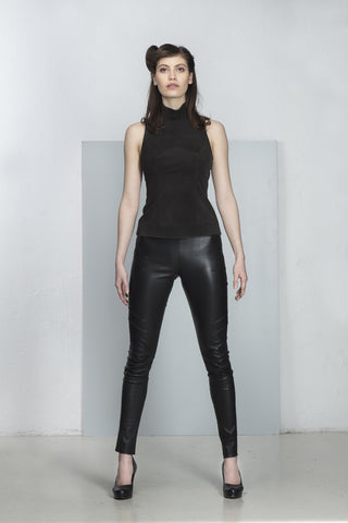 Terry elastic leather pant