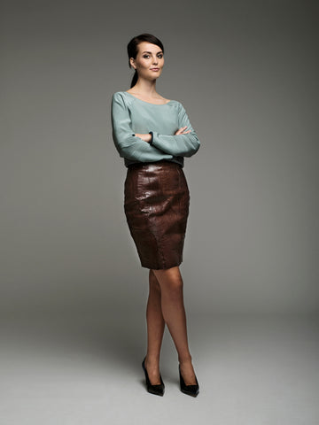 Mette pencil skirt in salmon leather
