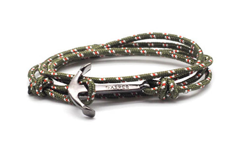 men's forest green rope bracelet with black anchor - The Art