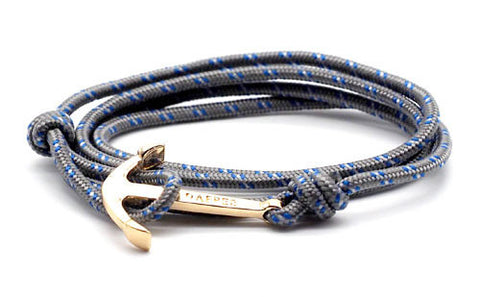 men's grey rope bracelet with gold anchor - The Art