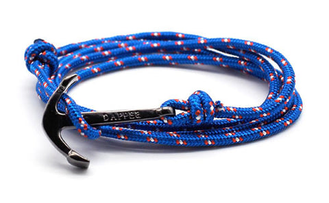 men's royal blue rope bracelet with black anchor - The Art