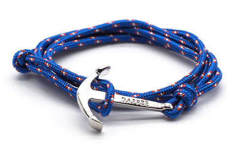 men's royal blue rope bracelet with silver anchor - The Art